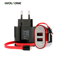 Здесь можно купить   IWOLFONE 5V 3.1A 2 Ports USB Charger with Built-in Cable EU Fast Charging Wall Charger For iPhone Samsung Xiaomi Carregador USB Mobile Phone Accessories & Parts