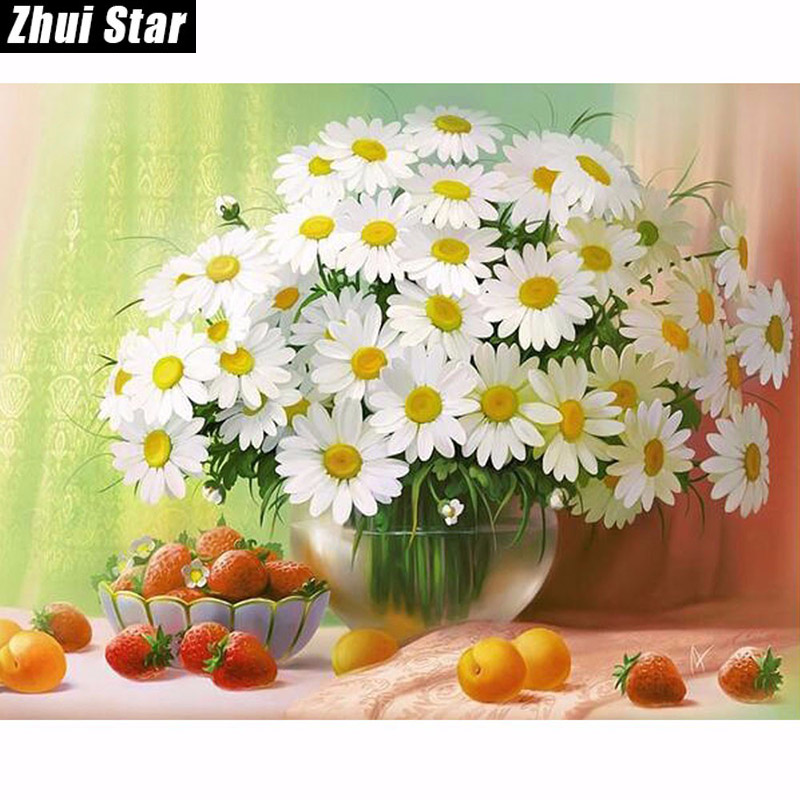 2016 NEW 5D DIY Diamond Painting Cross Stitch White Daisies Floral Crystal Needlework Full Diamond Embroidery Flower Home Decor