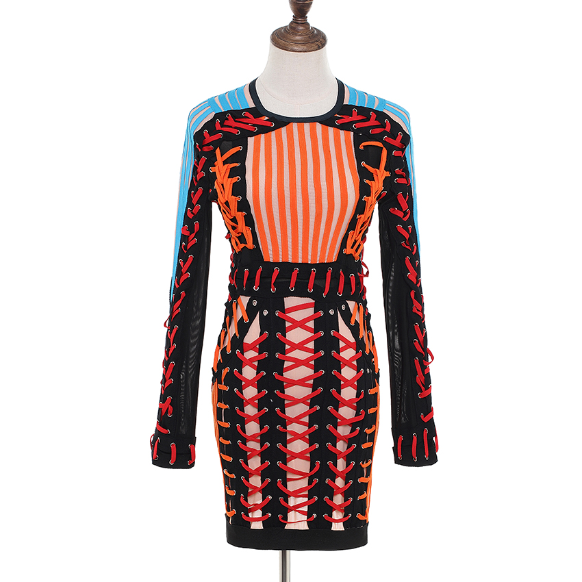 HIGH QUALITY Newest 2019 BAROCCO Runway Designer Dress Women's Luxurious Hand Work Multi Colors Lacing Rope Bodycon Dress