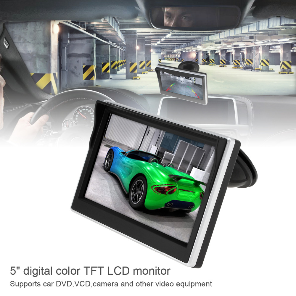 5 Inch TFT LCD Auto Car Monitor 800*480 16:9 2ch Video Input Parking Rearview Monitor For Rear View Backup Reverse Camera DVD