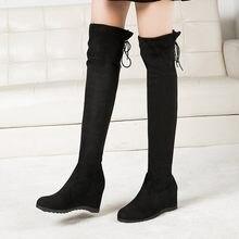 2019 Moda Toe Over-the-Knee Boots Plataforma Aumentou Ao Longo do Trecho Elástico Das Mulheres Desfile de Moda de Coxa esticar Sapatos de Inicialização