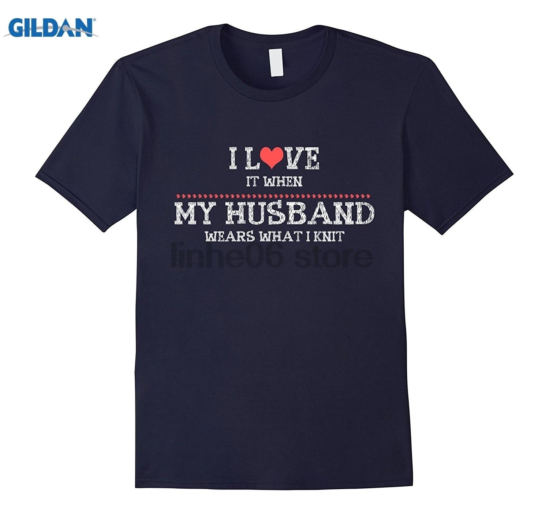 Возьмите Я люблю, когда муж носит что я вяжу отличный подарок T Ши брендовая Футболка повседневный Топ Платье женские футболки
