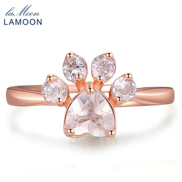 ad339d9df6d1 Pata de oso encantador anillo 100% natural rosa cuarzo rosa 925 joyas de plata  esterlina