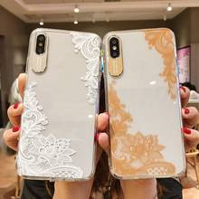 TPU Case For iPhone X XS XR Xs 8 Plus 7 Cases 6 6S Soft Fashion Cover Lace Pattern Phone