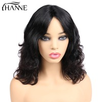 HANNE Brazilian Lace Part Middle Part Human Hair Wigs For Women Remy Natural Wave Black Short Bob Wig Pre Plucked 130% Denisty
