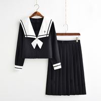 Japanese Harajuku Miss Orthodox Korean Long Sleeve Sailor Suit+Long Skirt Class School Uniform Suits Set For Women Girls New