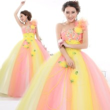 Freeship flower pink and yellow ball gown medieval dress Renaissance gown queen Victorian Belle Ball gown