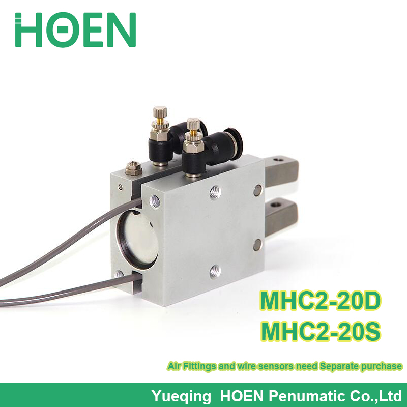 High quality double acting pneumatic robot gripper air cylinder MHC2-20D angular style aluminium clamps