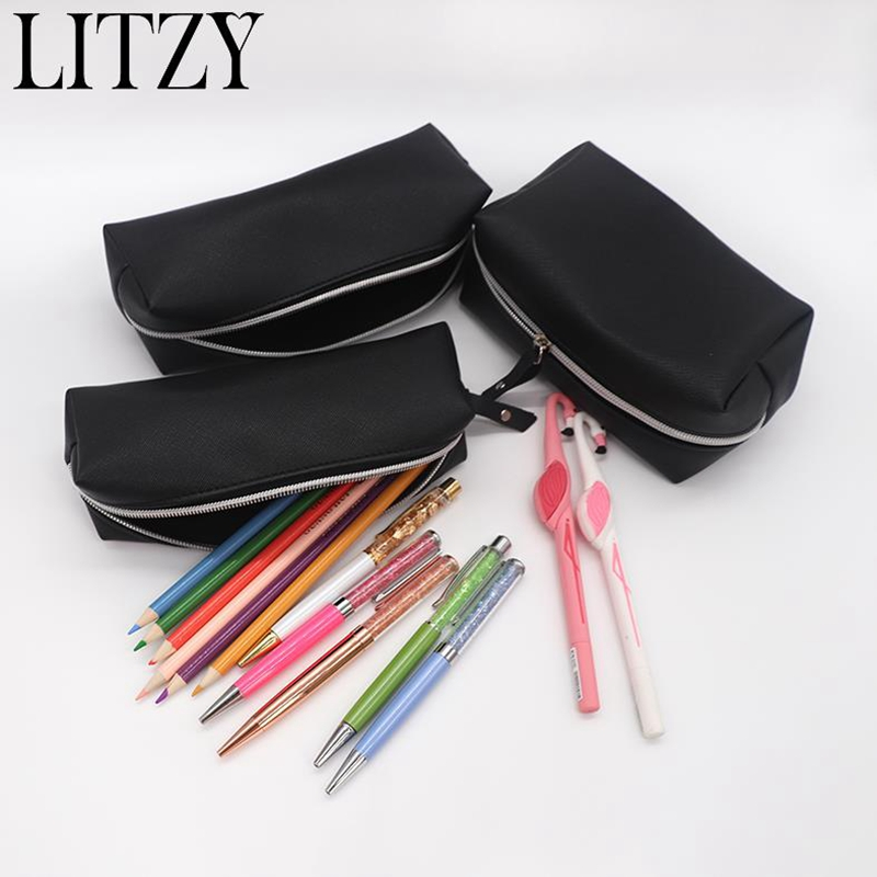 цена на Big Pencil Case Black PU Leather Pencil Case For Girls Boy Cute Big Capacity Zipper Pencil Box Cosmetic Bag School Supplies Tool