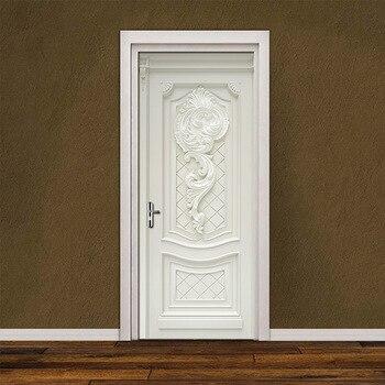 PVC Wasserdicht Self-Adhesive Tür Aufkleber Tapete Für Wohnzimmer Schlafzimmer Tür Tapete Art Wall Decals Wandbild Wand Aufkleber