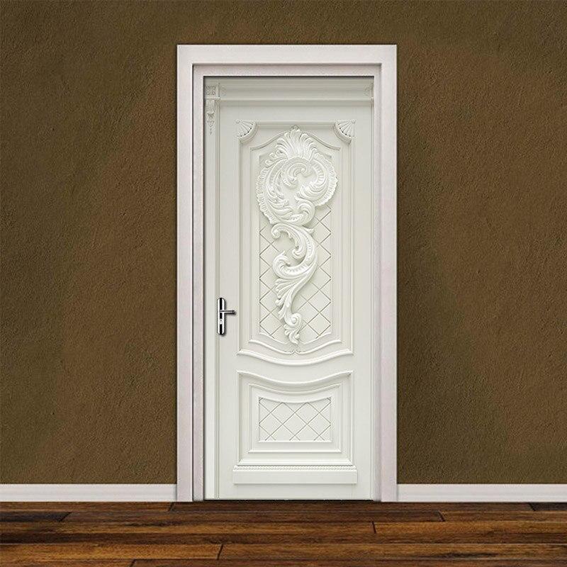PVC Waterproof Self-Adhesive Door Stickers Wallpaper For Living Room Bedroom Door Wallpaper Art Wall Decals Mural Wall Sticker