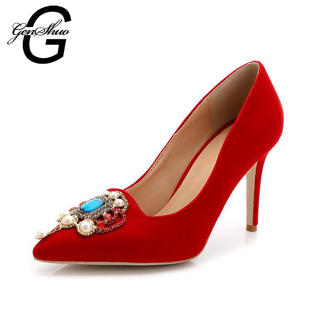GENSHUO 8.5CM Flock Rhinestone High Heels Red Wedding Shoes Women Pumps Pointed Toe Woman High Heels Party Shoes Big Size 42 43