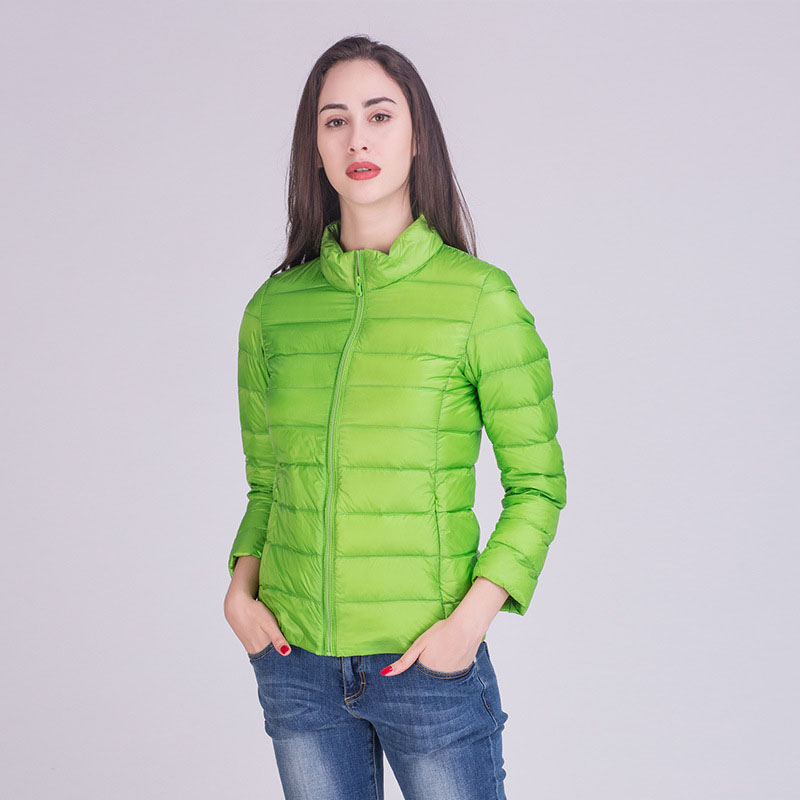New arrival 2019 ultra thin light weight thin   down   jacket women stand collar slim short   down     coat   outerwear plus size