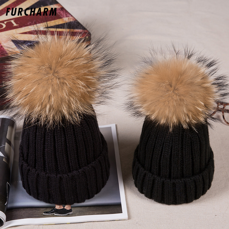 2PCS/LOT Winter Thick Hats for Children and Women with Natural Raccoon Fur Ball Tops Causal Acrylic Cashmere Knitted Caps