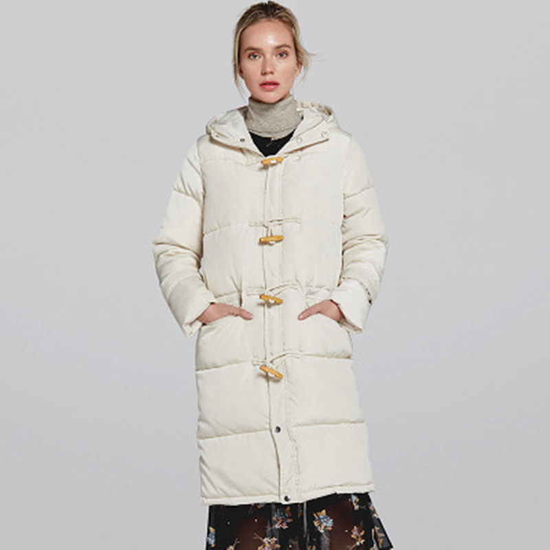 2019 Winter Women's New Style Simple Hooded Long Section Cotton Padded Solid Color Cotton Warm Bread Fashion Price $84.00
