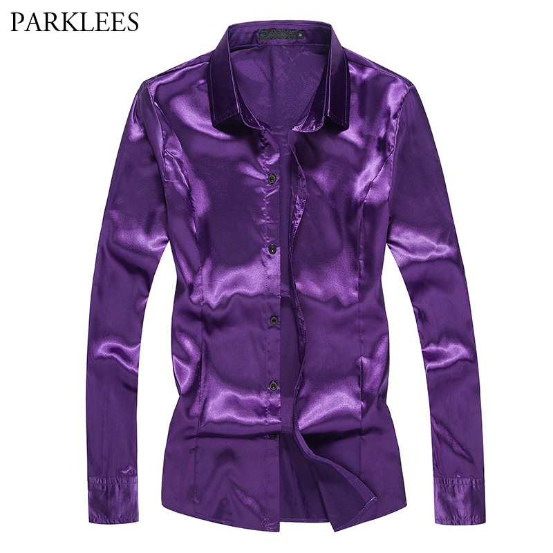 Purple Silk Satin Shirt Men 2018 Fashion Emulation Silk Slim Fit Chemise Homme Nightclub Wedding Prom Dress Shirts Men Camisas