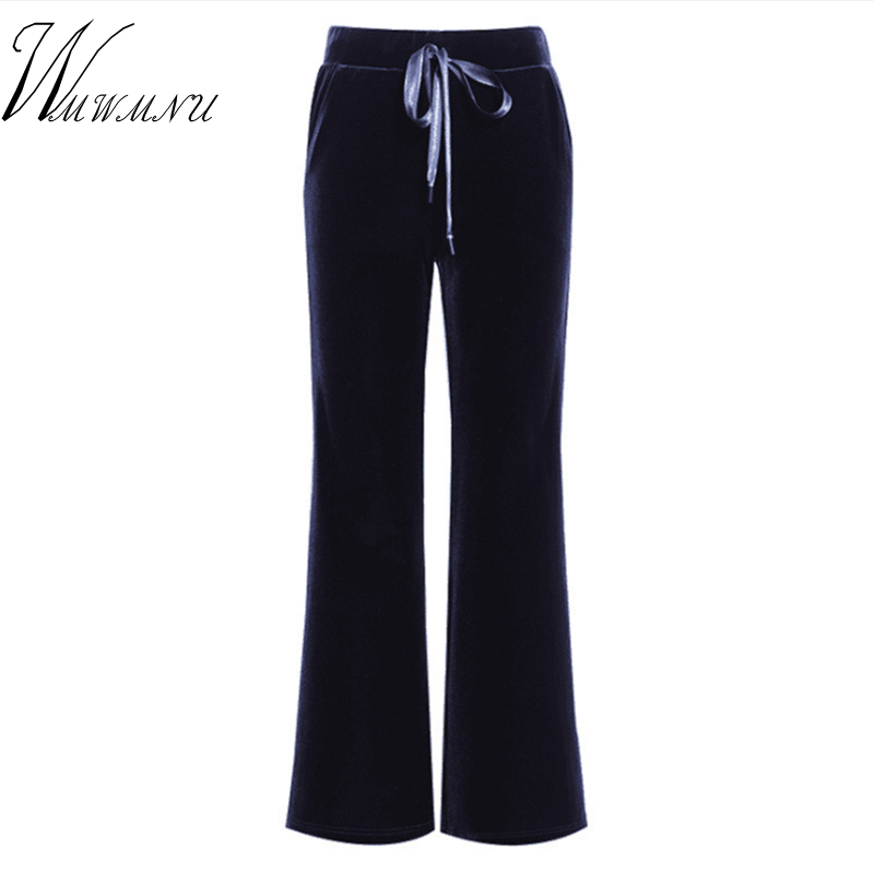 Autumn Velvet Flare   Pants   For Women 2018 Winter New Casual Loose   Wide     Leg     Pants   And Ladies Office Work Pleuche Long Trousers