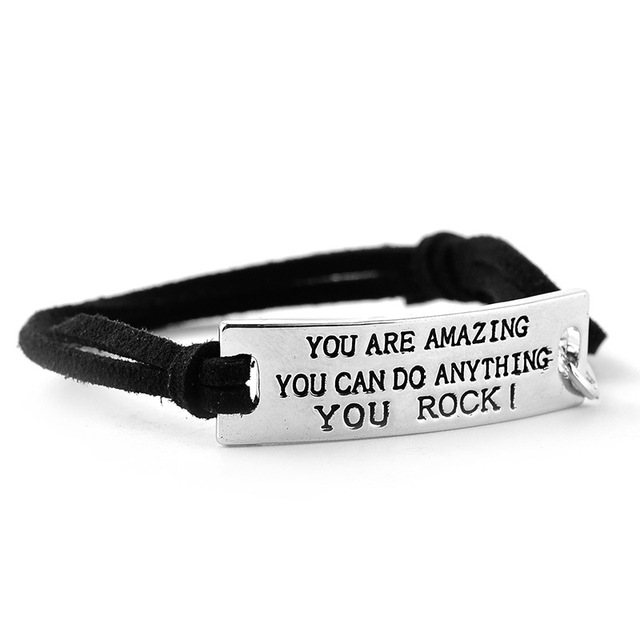 Купить вдохновляющие сообщения браслет кожаный положительная мотивация