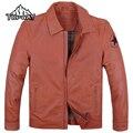 High Quality Orange Vintage Cowskin Leathers Outdoors Windbreaker Coat Short Genuine Leather Jacket Men Thermal Doudoune Homme