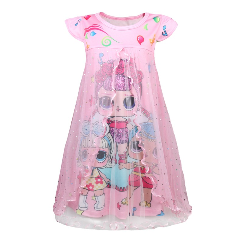 Kids Dresses for Girls New Summer Lol Dolls Dress Cute Short Sleeve Dresses Party Holiday Children Clothes Princess Girls Dress 2018 new arrived baby girls dresses summer clothes cute cartoon mickey printed milksilk short sleeve children infant dress for g