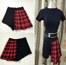 17e1b27fd Summer Harajuku Skirts Women Vintage Red Plaid Patchwork Shorts Pleated Mini  Skirt For Girls