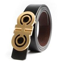 Luxury Solid Brass Designer H font b Belts b font Men High Quality Male font b