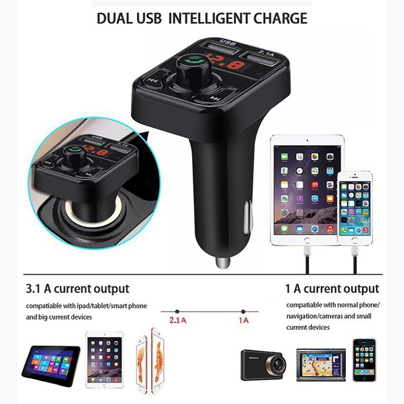 VicTsing Bluetooth MP3 Player FM Transmitter Handsfree Wireless Radio Adapter USB Car Charger 2.1A MP3 Player SD Music Playing   (5)