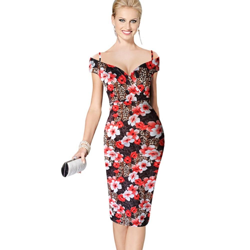 Arkeen Bodycon Off Shoulder Floral Midi Dress 2017 Sexy Italy Pencil ...