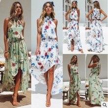 Flower Chiffon Dresses Women Summer  High Waist Wrap Beach Dress Boho Bohemian