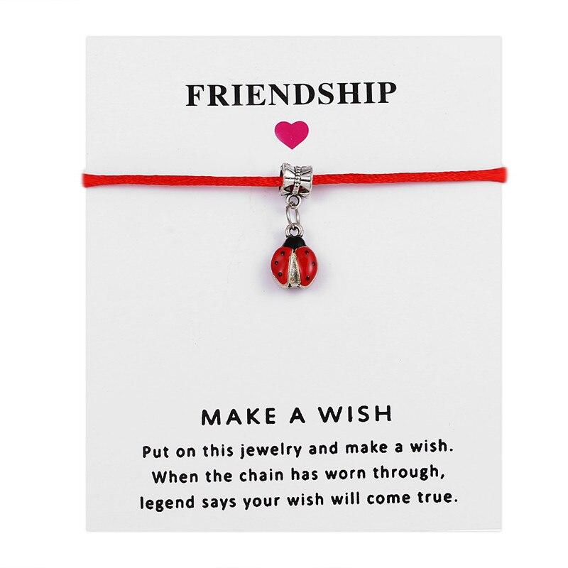 Lindo dibujo de mariquita esmalte dijes colgante para Mujeres Hombres ajustable cadena roja de la suerte pulseras deseo tarjeta de regalo de la joyería WOSTU 100% Plata de Ley 925 mariquita circonita Rosa pendientes de plata 925 joyería para mujer pendientes de boda joyería CQE715