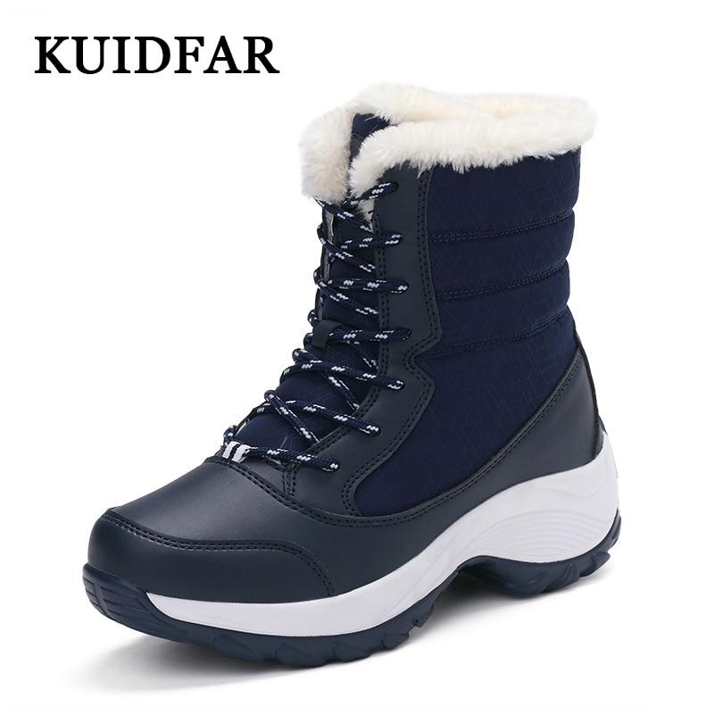 KUIDFAR Women Shoes 2019 Women Boots Warm Winter Boots Ankle Botas Cotton Waterproof Winter Shoes Fashion