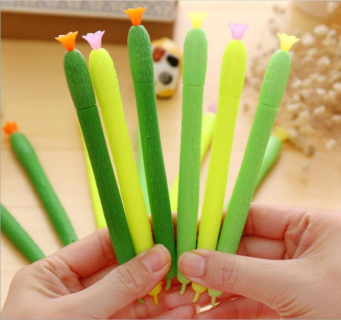 24pcs/lot 15cm Novelty Summer Fresh Cucumber Silicone Gel Ink Writing Pens Office Study Materials Kids Birthday Party Favor Gift