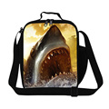 Cool Shark kids zoo animal lunch bags for girls school,adults sea thermal lunch container,stylish food bag with bottle holder