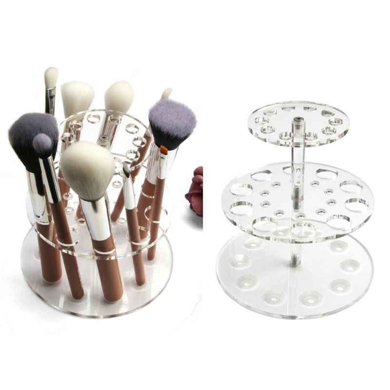 MAANGE 20 Hole Acrylic Makeup Cosmetic Air Drying Brush Holder Dryer Rack Organizer Holder