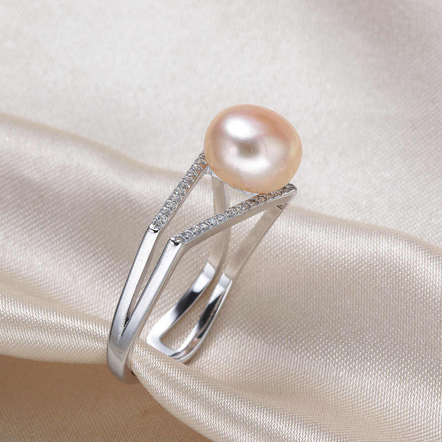 New Arrival Trendy Elegant Girls Fashion Ring  Crystal Shaped Ring Double Ring Set 9-9.5mm Real Freshwater Pearl Anel
