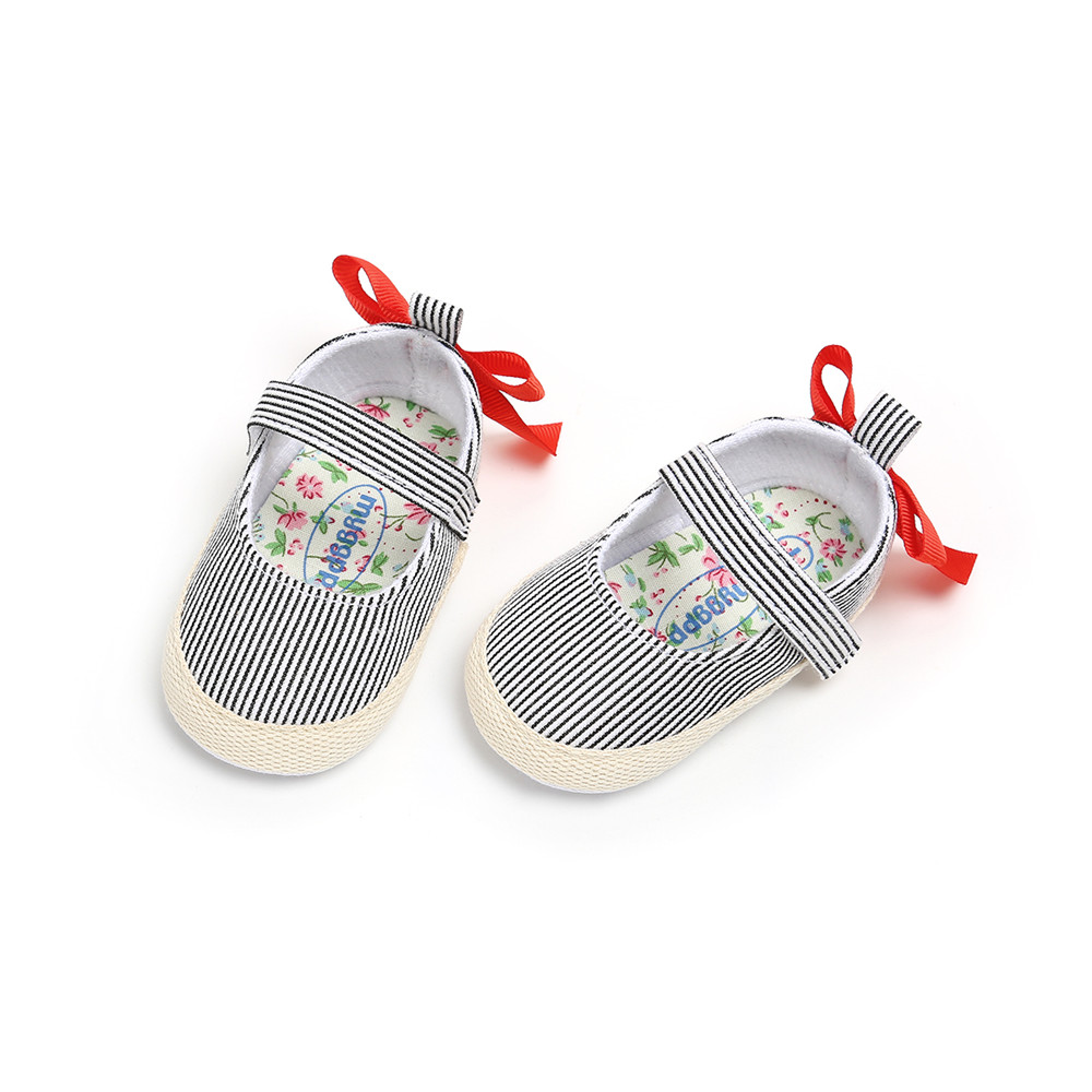 2018 Autumn Infant Baby Boy Girl Shoes Comfortable Cotton Fabric Shallow Striped Casual Baby Shoes Toddlers Prewalkers Wholesale in First Walkers from Mother Kids