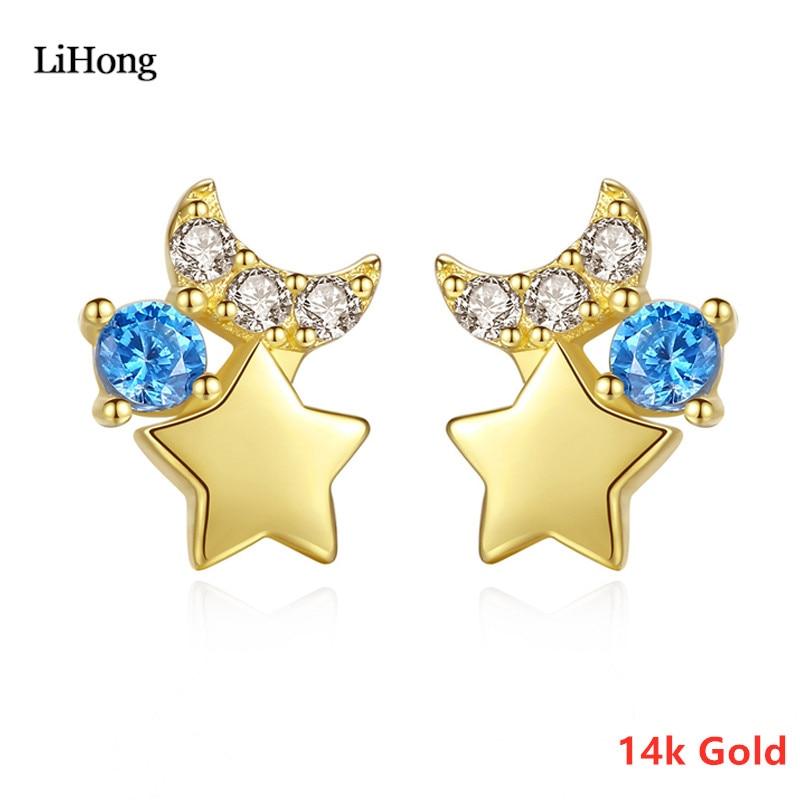 Nouveau 14k solide or étoiles en forme de lune boucles d'oreilles femmes mode élégant Zircon boucles d'oreilles bijoux cadeau