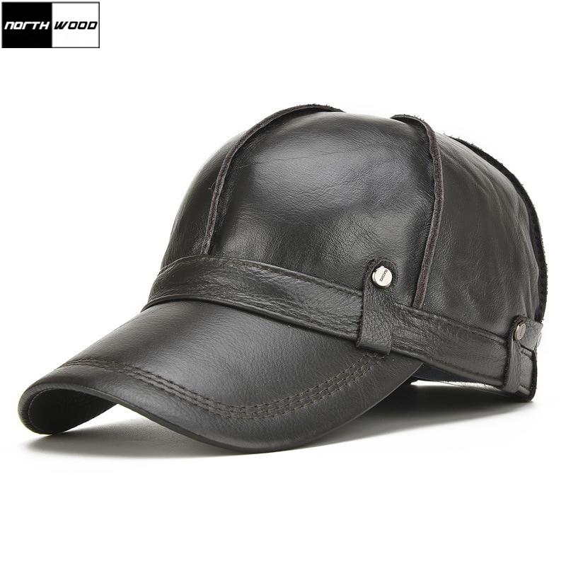 [NORTHWOOD]High Quality Cowhide Genuine Leather Baseball Cap Men Winter Gorras Para Hombre Snapback Casquette Winter Trucker Cap