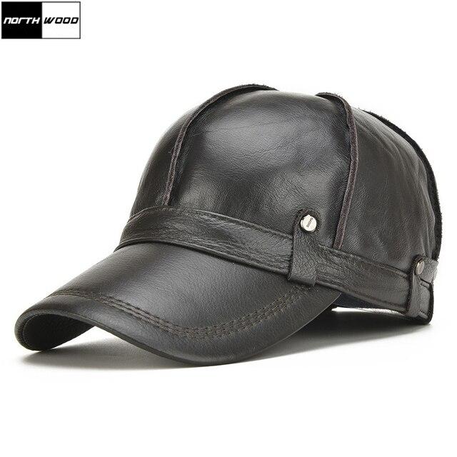 [NORTHWOOD] عالية الجودة جلد البقر حقيقية قبعة بيسبول جلدية الرجال الشتاء Gorras الفقرة Hombre Snapback Casquette الشتاء قبعات سائق الشاحنة