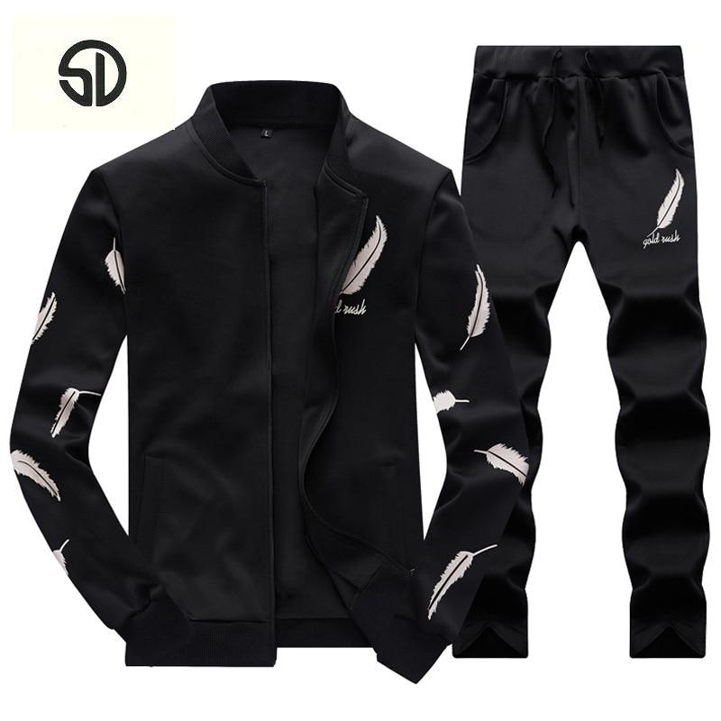 Tracksuit Men Sweatshirt Set Sweat Suits 2018 Brand Clothing 2PCS Stand Collar Fleece Patchwork Fashion Casual Fleece Hoodie Men