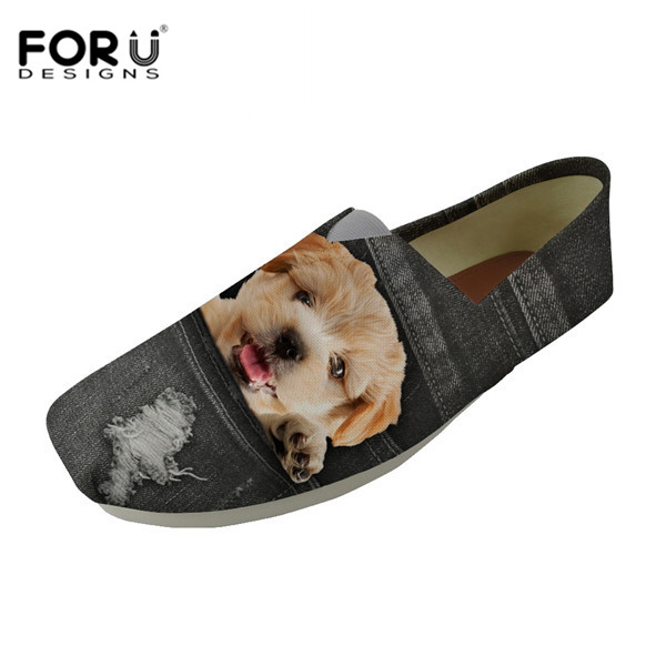 FORUDESIGNS Summer Boat Shoes Denim Pocket Animal Pattern Mens Canvas Shoe Travel Lazy Shoe Casual Comfortable Vulcanized Shoes
