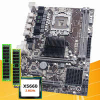 PC hardware supply brand HUANAN ZHI discount X58 motherboard with processor Intel Xeon X5660 2.8GHz 2*8G DDR3 16G REG ECC memory