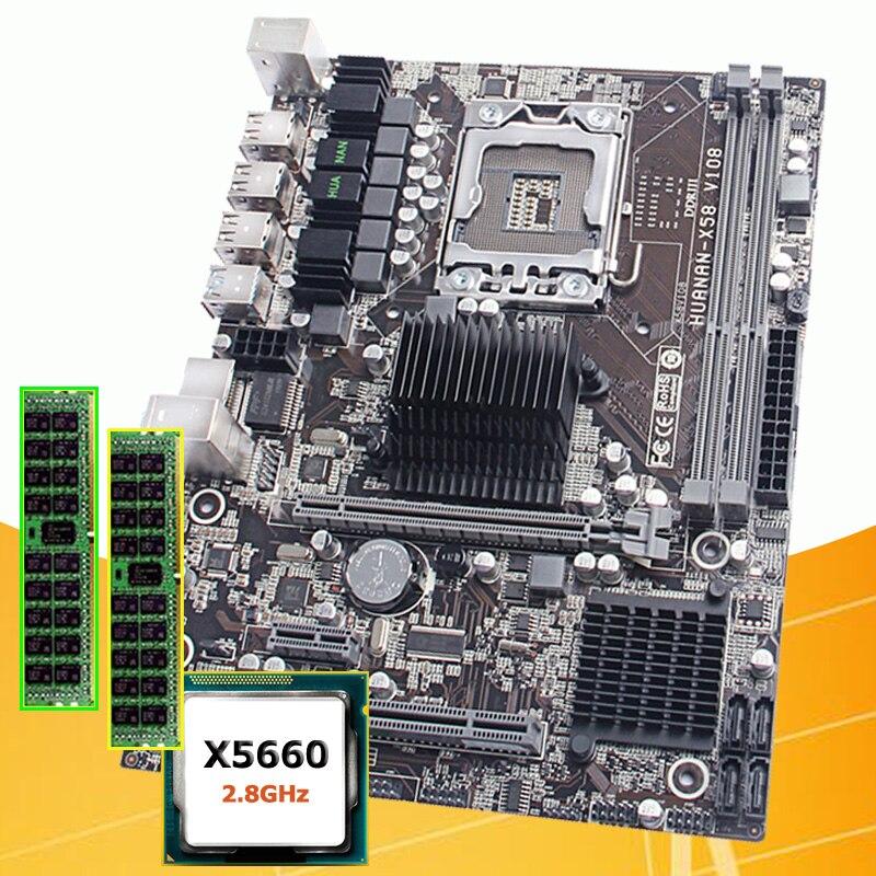 PC hardware marca abastecimento ZHI HUANAN desconto X5660 X58 motherboard com processador Intel Xeon 2.8 GHz 2*8G DDR3 16G REG ECC memória