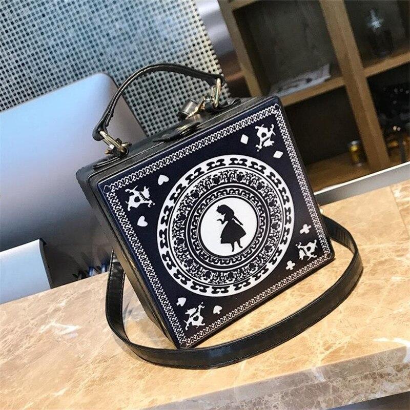 Cartoon Girl Prints Box Handbag Black Pu Leather Tote Bag Casual Ladies Shoulder Bag Vintage Handbag Female Crossbody Messenger