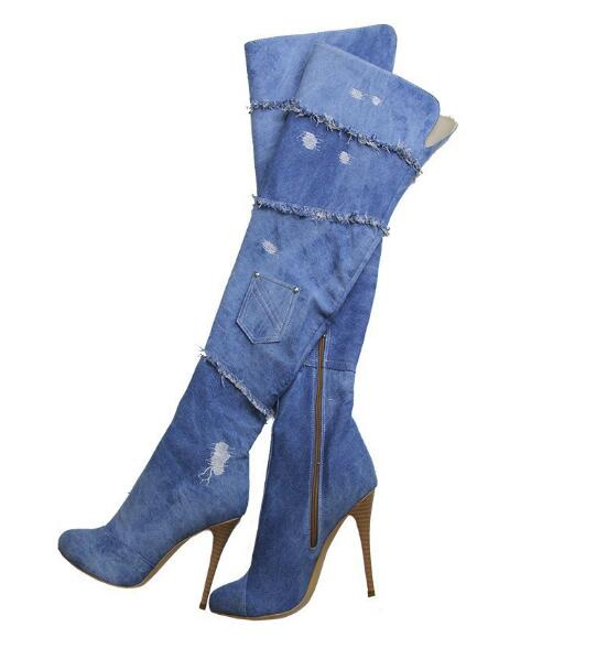 hot selling cutouts denim blue thigh high boots sexy pointed toe over the knee high heel boots 2017 woman thin heels boots hot selling 2015 women denim boots pointed toe tassel patchwork knee high boots crystal thin high heels winter motorcycle boots