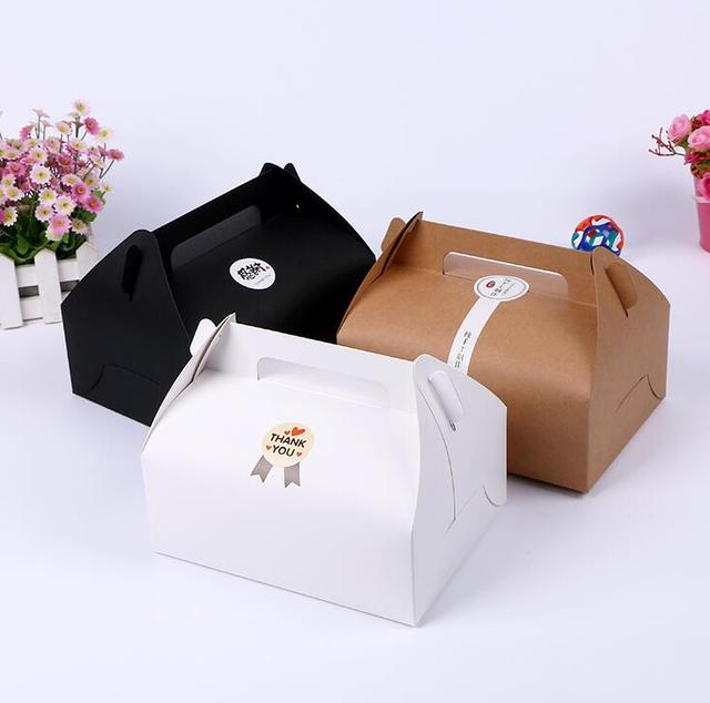 5 Tailles Grand Kraft Papier Emballage Boite Avec Poignee Portable