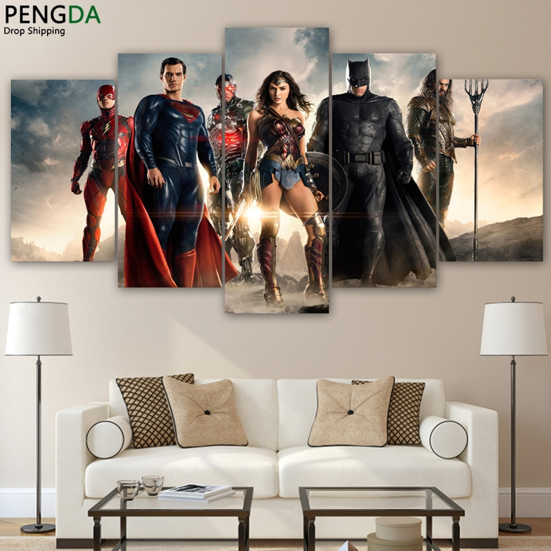 Canvas home decor batman paintings wall art 5 pieces for 10x20 living room
