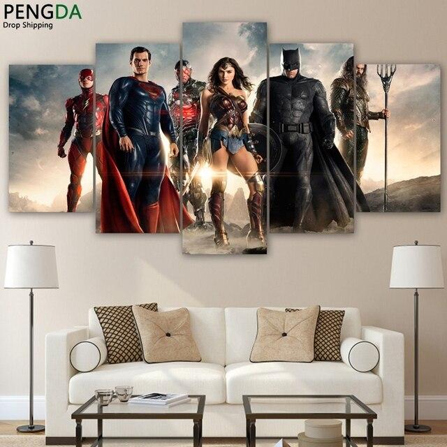 Canvas Trang Trí Nội Thất Batman Tranh Tường Thuật 5 Cái Justice League Movie Posters Phòng Khách HD In Wonder Hình Ảnh Người Phụ Nữ
