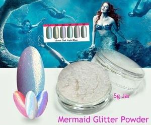 6COLORS 5G JAR MERMAID MIRROR EFFECT NAILS GLITTER ART POWDER DUST IRIDESCENT Trend Rainbow Fine Nail ART, FREE SHIP,#MG01-06
