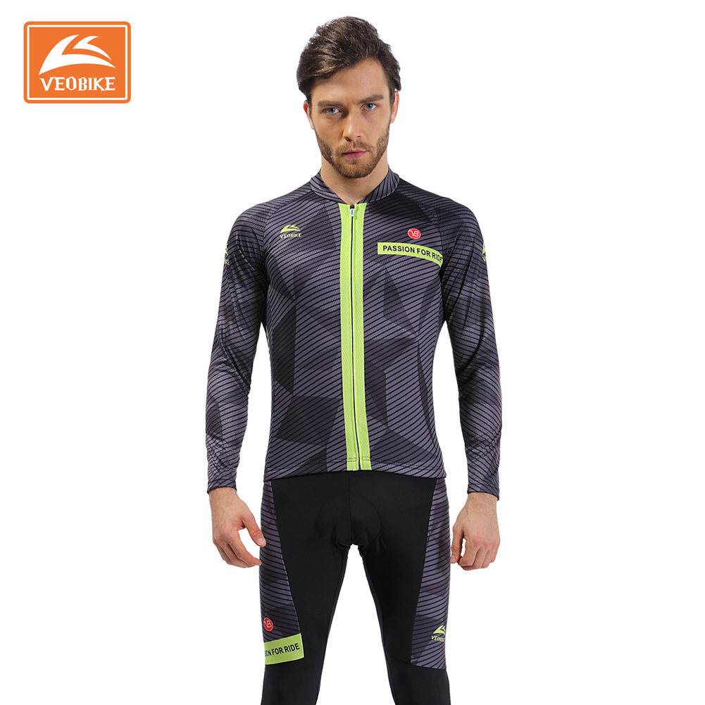 VEOBIKE  Men's Pro Cycling Jersey Long Sleeve Maillot Ropa Ciclismo Quick Dry Bicycle Clothing MTB Bike Sports Wear Top Quality